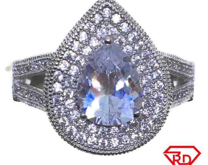 Large Teardrop CZ Ring 14k white gold on Silver (size 9)