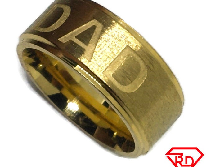 Dad and father ring band Gold plated Titanium Steel S5 . 5