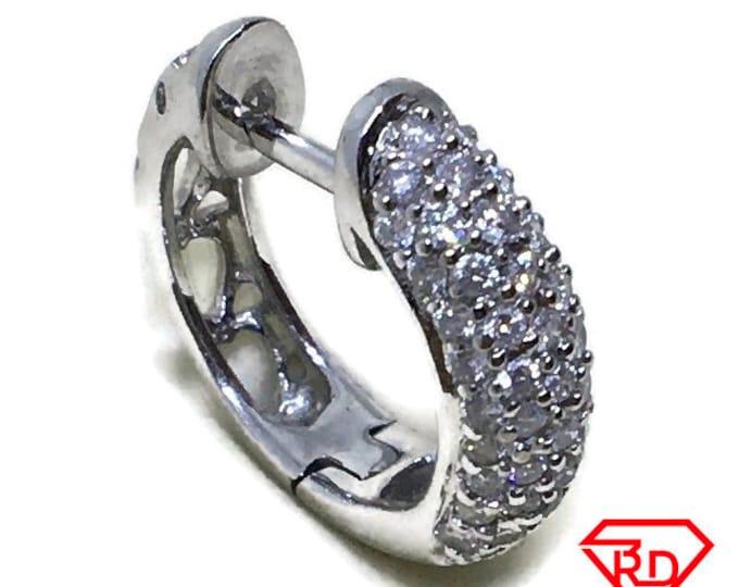 Diamond in fancy single hoop Earrings 14K White Gold