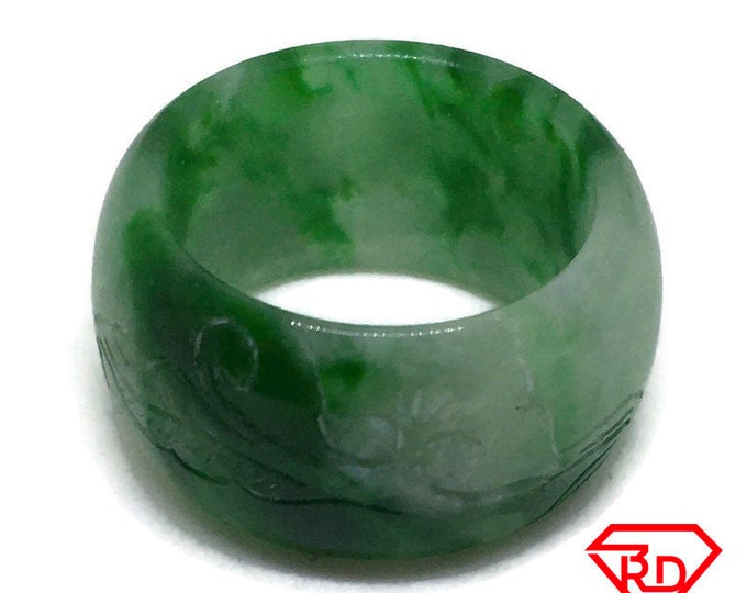 Smooth Inscriptions Round green jade ring Band (Size 4)