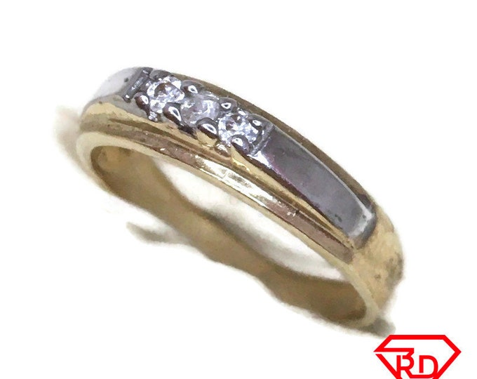 Row small white CZ ring band 14K Real Yellow gold S7
