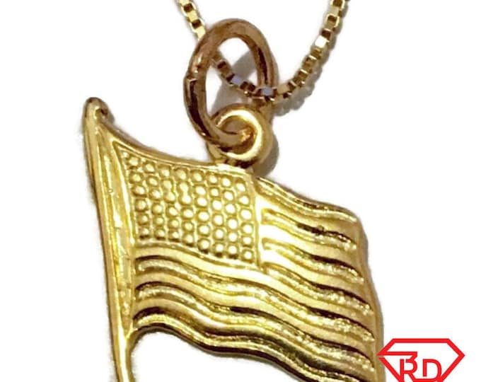New Yellow Gold on Silver Pendant Small Flag of America free chain