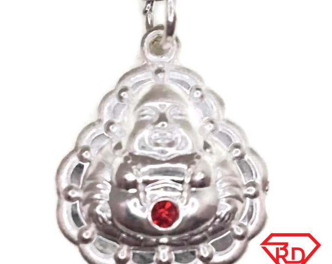 New Handcraft Anti-Tarnish 990 Silver Pendant two sided Hollow Buddha with red cz and free chain