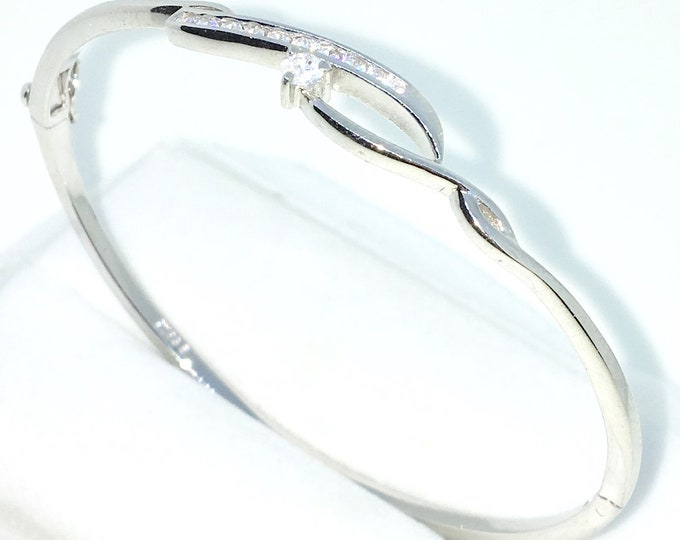 New White Gold Layered on 925 Solid Sterling Silver Oval Bangle Bracelets Rows of small white round CZ and Box clasp
