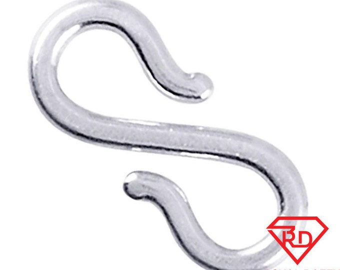 Large handmade solid sterling silver s-hook clasp component findings repair 13mm