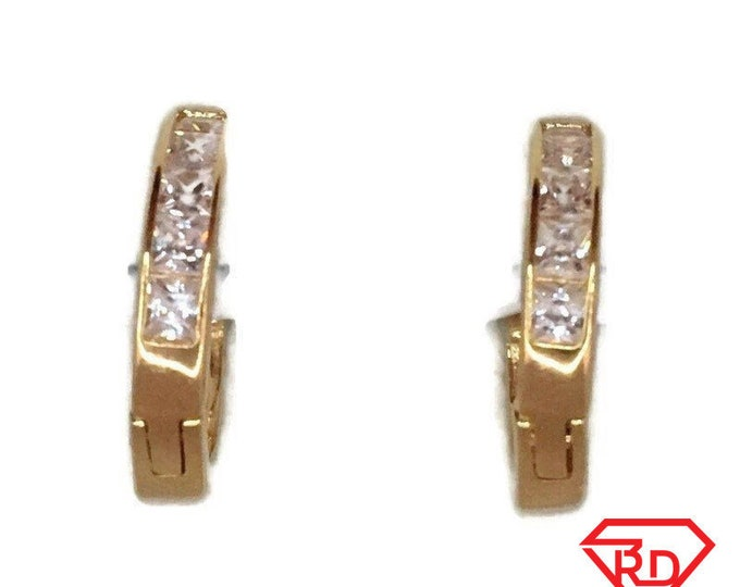 Brand New Yellow gold on 925 Silver Hoop Earrings Small Circle with white Princess CZ ( 14 . 2 mm )