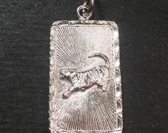 """New 925 silver Reversible Design Chinese character writing """"Happiness """" & Tiger Zodiac Charm Pendant"""