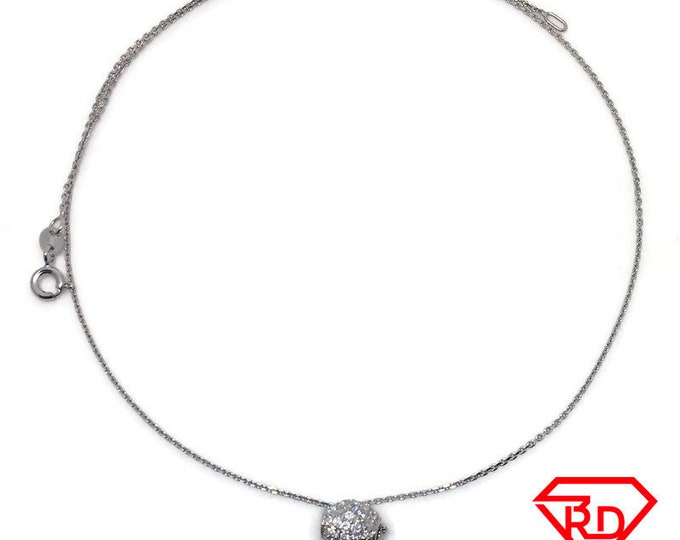 round Bead CZ necklace 16 inch chain White gold layer