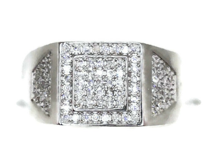 Cubic Zirconia ring double square white gold on Silver (11 . 25 )