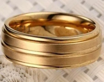 Yellow Gold plated on Stainless Steel wide Ring Band 8mm S-7