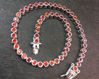14k gold layer on sterling silver 2ct orange red cz tennis link bracelet 3.1mm