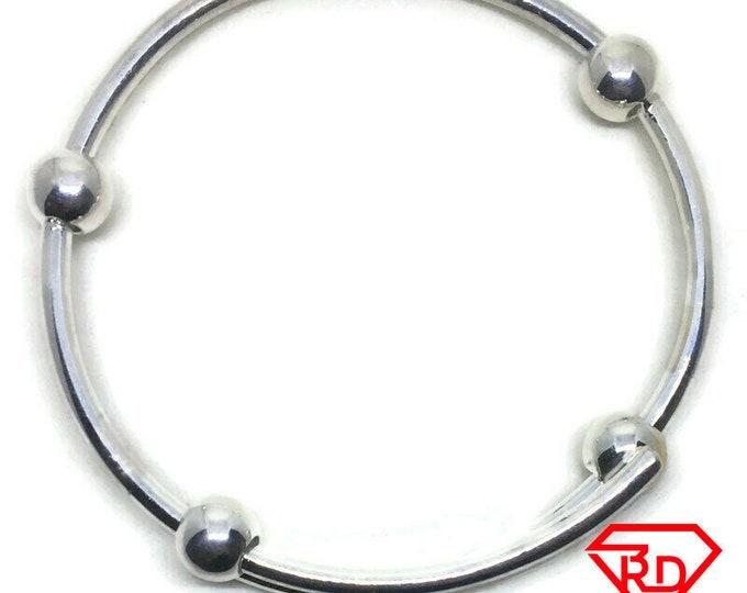 Round beads Adjustable slip in Bracelet 999 Silver