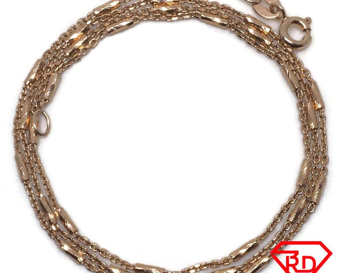 Bar and Cable Chain 18 inch Necklace 14K Rose Gold Layer