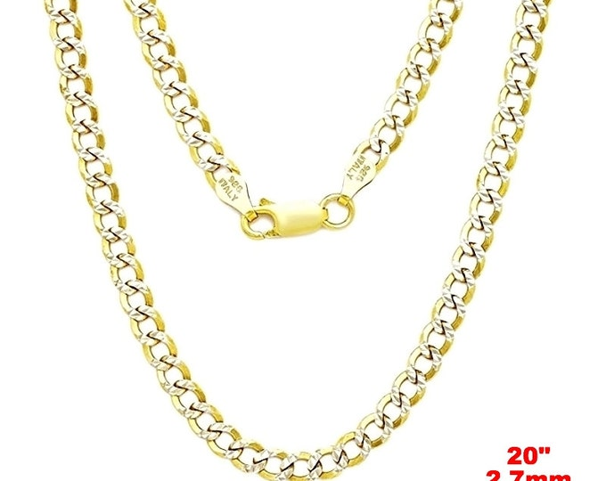 Italian diamond cut 14k white & yellow gold layered over 925 silver- 2.7mm Curb Chain 22""