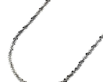 18k white gold layered 925 Silver Popcorn Sparkle Rock Italian Necklace Chain- 2 mm 18 ""