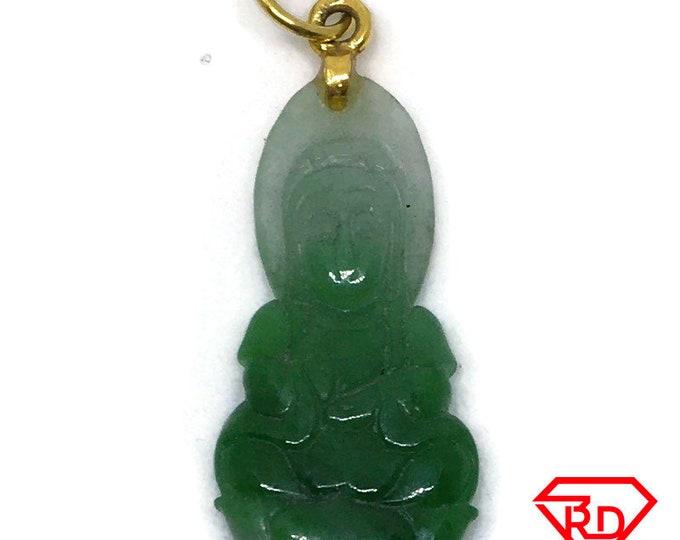 Small Quan Yin Green Jade charm pendant 14k Solid Yellow gold