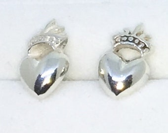 New Handcraft Heart with Crown on 925 Solid Sterling Silver Stud Earrings ( 6 . 7 mm )