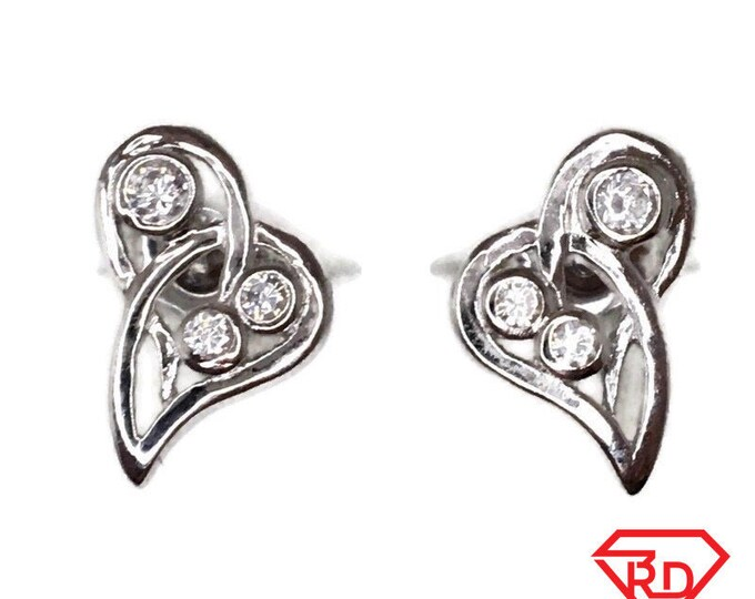 Brand New white gold on 925 Silver Studs Earrings Artistic semi-Heart shape with white round CZ ( 8 . 5 mm )