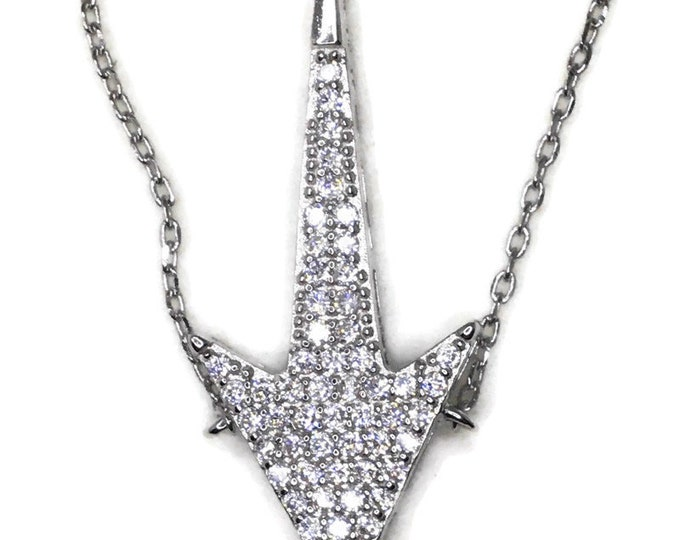 Cubic Zirconia downward arrow pendant with white gold on silver