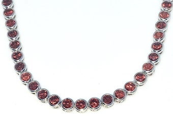 New White Gold Layered 925 Solid Sterling Silver 7 inch Bezel Large Round Red CZ Tennis Bracelet with Box Clasp