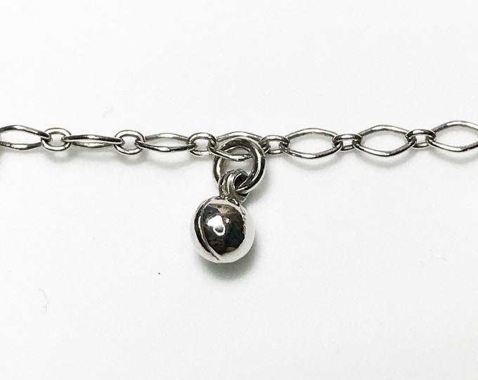 NEW 14K White Gold Layered on Sterling Silver cz Round Ball Shaped Bracelet
