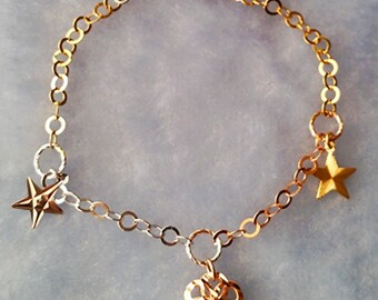 14k Tri Color Gold Layer on 925 Silver Dangling Puff Flower Charms Bracelet
