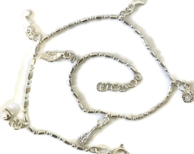 Brand New Anti-Tarnish Silver Anklet 9 inch beads and bar cable and dangles with spring ring clasp and 1 inch extension