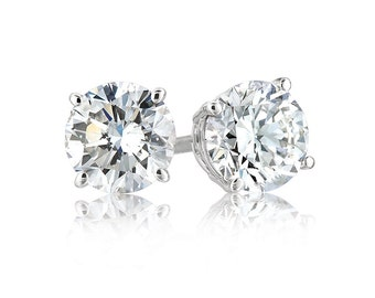 New Platinum Layered Sterling Silver Round Cut 1ct Cz Unisex Prong Setting Stud Earrings