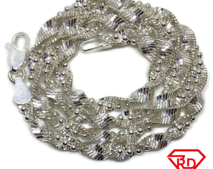 Spiral Beads Chain 16 inch Necklace 925 Solid Silver