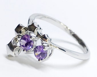 NEW 14K White Gold Layered on Sterling Silver Stars with Purple Stones Ring