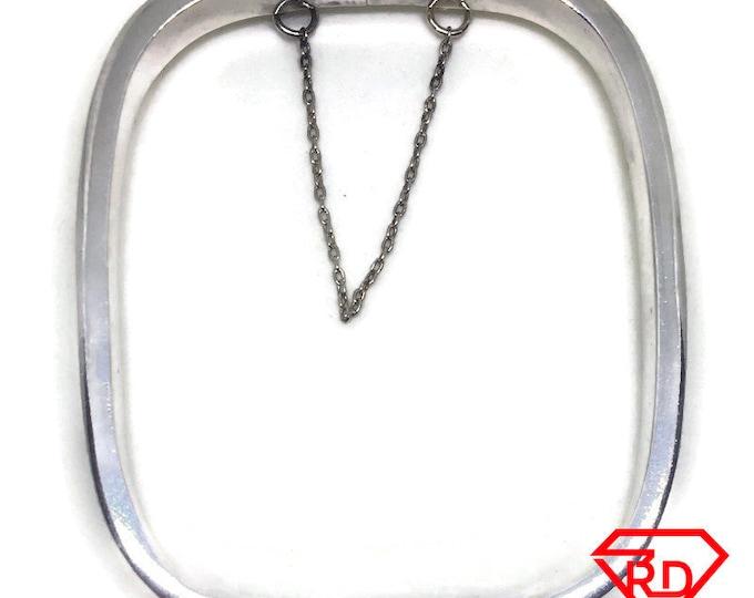 Round square clip Bangle Bracelet 925 Silver