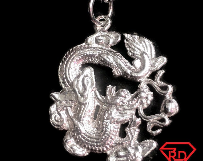 New Solid Anti tarnished 925 Sterling Silver Zodiac Dragon Pendant charm (20.4 mm)