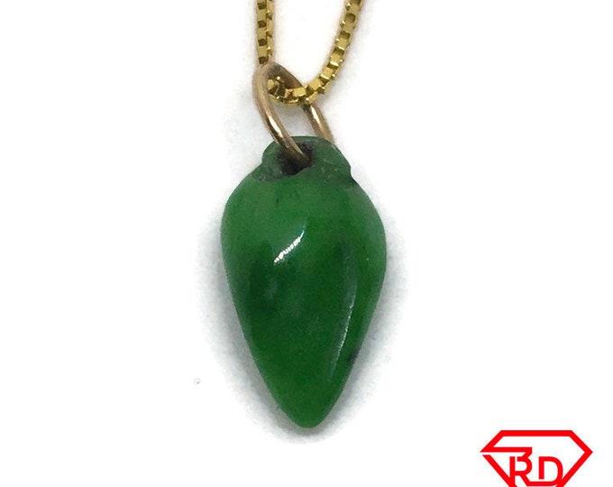 Tiny Heart Green Jade Pendant 14K Real Yellow gold