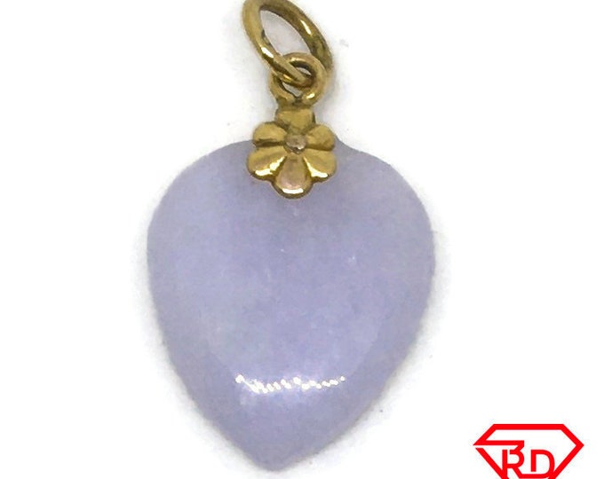 Small Heart green Jade charm pendant 14k Solid Yellow gold