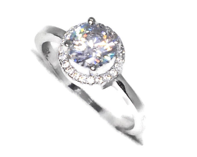 Halo on white round CZ White gold on Silver ring Band (size 8)