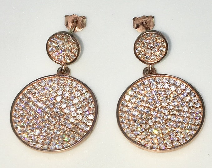 New 14k Pink Gold on 925 Sterling Silver Round Plates White round CZ Dangle Drop Studs Earrings ( 16 . 1  mm )