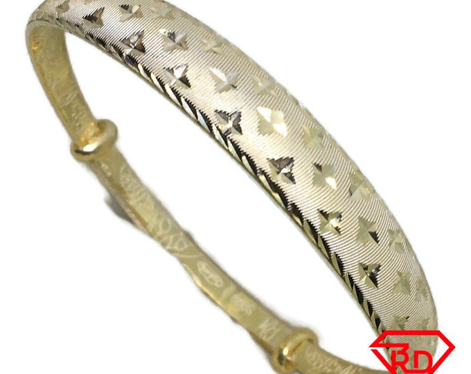Diamond cut Stars slip in Bangle 999 Yellow Gold Layer