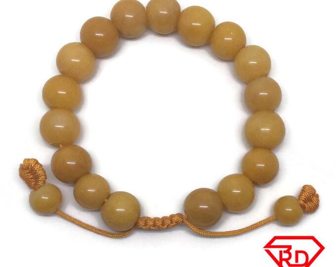 Round beads red Jade chinese Adjustable Bracelet
