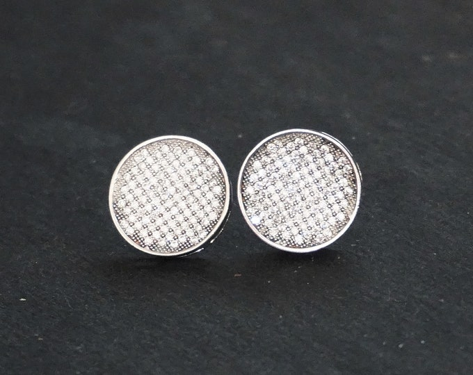 New 14k White Gold on 925 Sterling Silver One Tone CZ Round Stud Earrings ( 1 0 . 6  mm )