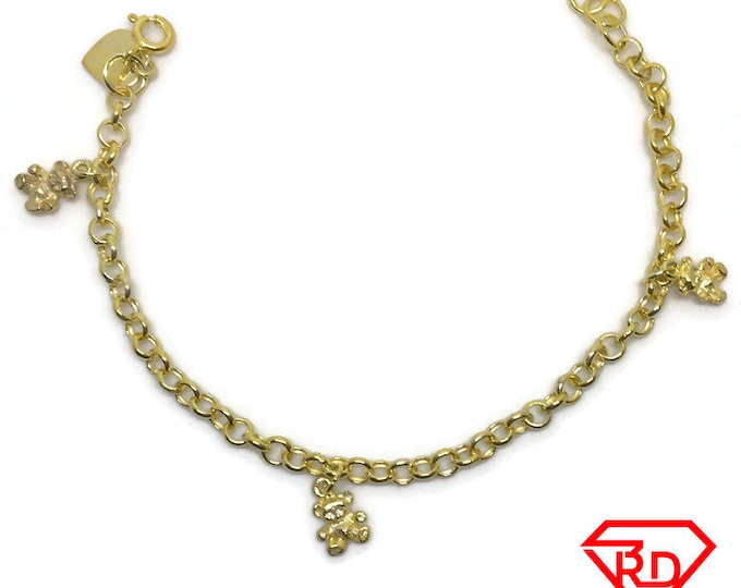 Teddy bear charm 7 inch Bracelet 999 Yellow Gold Layer
