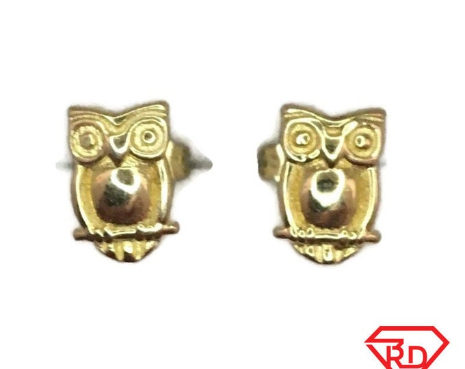 Brand New Yellow gold on 925 Silver Studs Earrings Cute little Owl ( 6 . 2 mm )