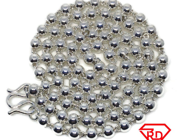 Round Beads Chain 20 inch Necklace Handmade .990 Silver