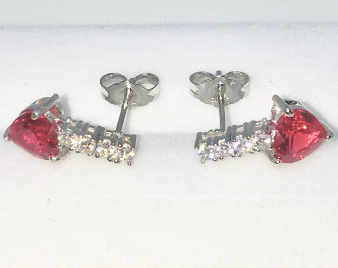 New White Gold on 925 Solid Sterling Silver Arrow Shape with Red heart and White round CZ Studs Earrings ( 6 . 6 mm )