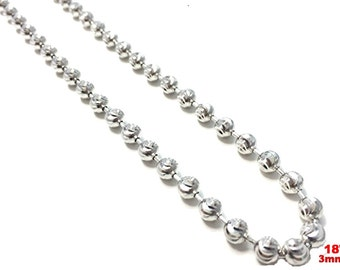 """18k white gold layered over .925 sterling silver moon cut chain 3 mm 18 """""""