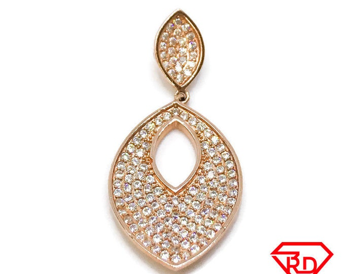 NEW 14K Rose Gold Layered on .925 Sterling Silver Oval Shaped With Stones Pendants