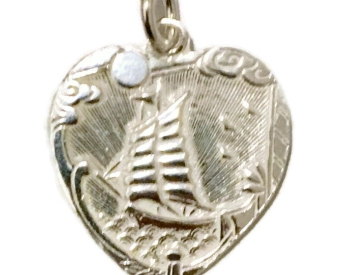 Brand New Silver Pendant heart shape sailing boat and safe travels
