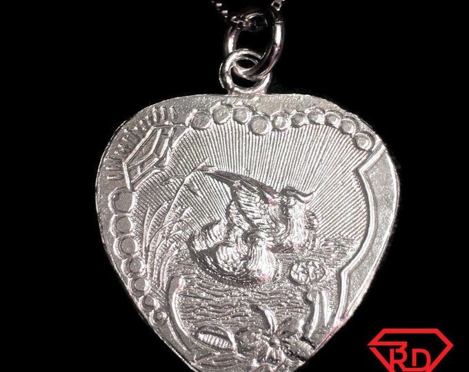 "New 925 Silver Chinese Character Writing ""Double Happiness"" for Wedding &  Love Doves Heart Charm Pendant Reversible Design"