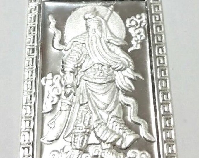 Xl- lord guan yu / guan gong god of war 999 fine solid silver rectangle pendant