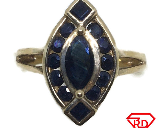 Marquise Blue Sapphire ring 14k yellow gold S7