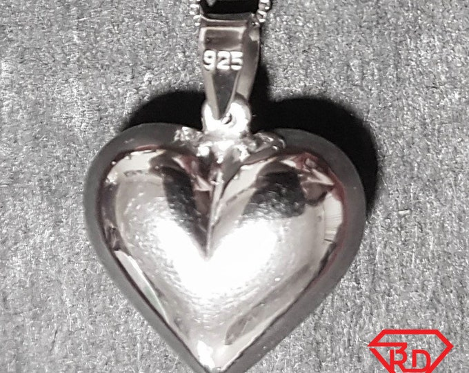 New 14k White Gold On 925 Reflective Heart Charm Pendant
